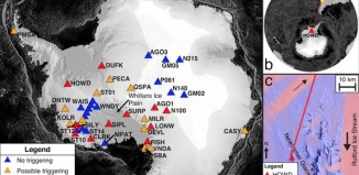 antarctica icequakes triggered by 2010 Chile earthquake, antarctic icequake triggered by chile earthquake, chile earthquake produces antarctica icequake, frost quake created by earthquake in chile, chile earthquake triggers icequake in Antarctica, Antarctic icequakes triggered by the 2010 Maule earthquake in Chile, This map shows the different icequakes recorded in Antarctica but triggered by the 2010 Maule earthquake. Photo: Nature