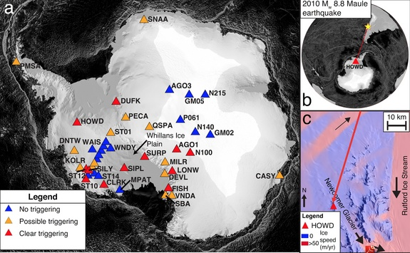 antarctica icequakes triggered by 2010 Chile earthquake, antarctic icequake triggered by chile earthquake, chile earthquake produces antarctica icequake, frost quake created by earthquake in chile, chile earthquake triggers icequake in Antarctica, Antarctic icequakes triggered by the 2010 Maule earthquake in Chile, This map shows the different icequakes recorded in Antarctica but triggered by the 2010 Maule earthquake., earthquake, icequake, loud booms, antarctica, chile, sounds of earth, icequake sound Photo: Nature