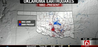 oklahoma earthquake, oklahoma earthquake map, map of oklahoma earthquake, map showing the evolution of oklahoma earthquake, The relative distribution of Oklahoma earthquakes from 1882 to now. The spatial distribution has shifted into the fracking area in the state. Photo: www.newson6.com video