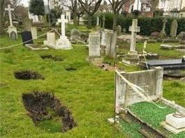 sunken graves, sinkhole under graves, sinkhole grave, grave sinkhole, sunken graves mexico, Cave-ins under sinkhole in Gravesend. A portal to another world?