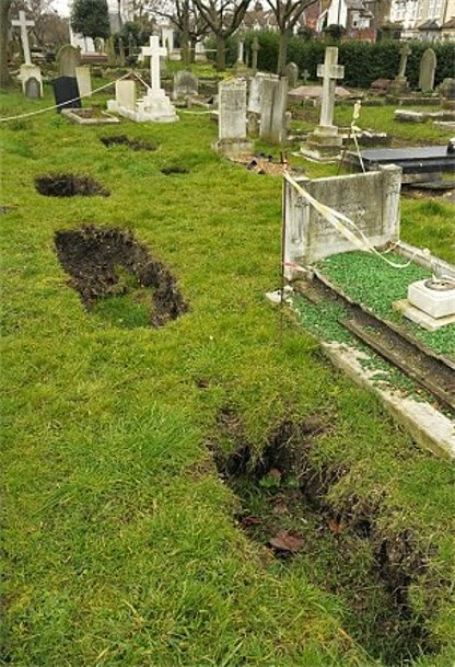 sunken graves, sinkhole under graves, sinkhole grave, grave sinkhole, sunken graves mexico, Cave-ins under sinkhole in Gravesend. A portal to another world?