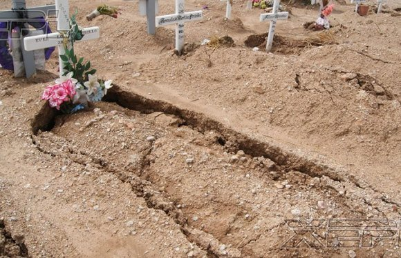 sunken graves, sinkhole under graves, sinkhole grave, grave sinkhole, sunken graves mexico