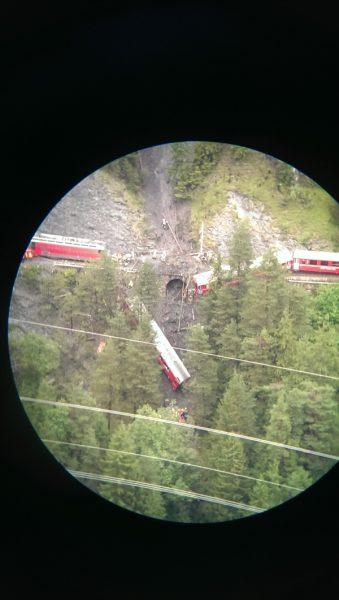 landslide train switzerland, swiss train derails after landslide, train derails in Switzerland, train switzerland alps, A landslide is at the origin of this train derailment in Switzerland. Photo: 20min, train derails in swiss alps august 2014