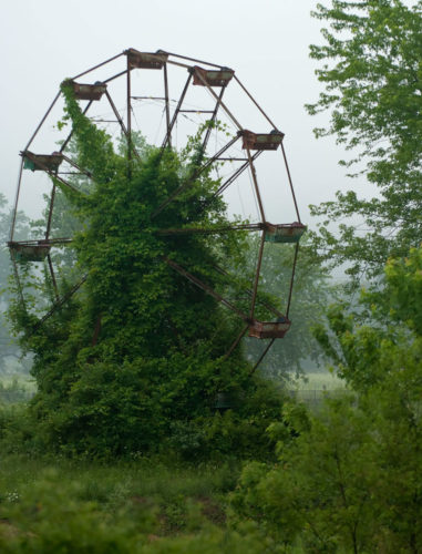Abandoned Ferris Wheel, Ferris Wheel, Abandoned Ferris Wheel photo, Abandoned Ferris Wheel covered with vegetation, nature reclaiming abandoned places, nature abandonned places