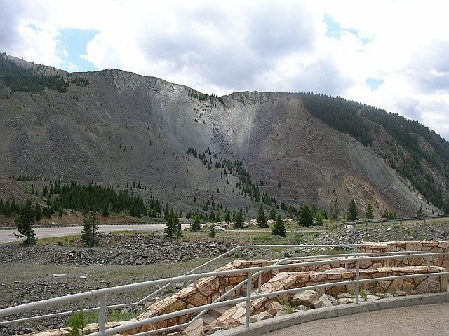 View of the Hebgen Lake Landslide which blocked the Madison River Canyon after the 1959 Yellowstone Earthquake. Phto: Wikicommon, EARTHQUAKE LAKE, Quake Lake, The 1959 Hebgen Lake earthquake, 1959 Yellowstone earthquake, quake lake history, earthquake lake history, earthquake lake formation 1959, earthquake lake formed after 1959 yellowstone earthquake