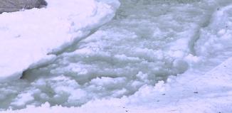Frazil ice, Frazil ice photo, Frazil ice yosemite park, white lava: frazil ice phenomenon, Frazil ice yosemite, Frazil ice in Yosemite Creek. Photo by National Park Service