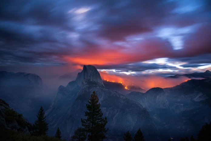 Meadow Fire, meadow wildfire, meadow fire photos, photos of meadow fire, apocalyptic photo of yosemite national park wildfire, Yosemite National Park Wildfire