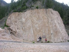 Photo of a giant rock boulder carried by the slide triggered by the 1959 Hebgen Lake earthquake. Photo: Wikicommon, Damages created by the 1959 Hebgen Lake earthquake also known as the 1959 Yellowstone earthquake. Photo: Wikicommon, View of the Hebgen Lake Landslide which blocked the Madison River Canyon after the 1959 Yellowstone Earthquake. Phto: Wikicommon, EARTHQUAKE LAKE, Quake Lake, The 1959 Hebgen Lake earthquake, 1959 Yellowstone earthquake, quake lake history, earthquake lake history, earthquake lake formation 1959, earthquake lake formed after 1959 yellowstone earthquake