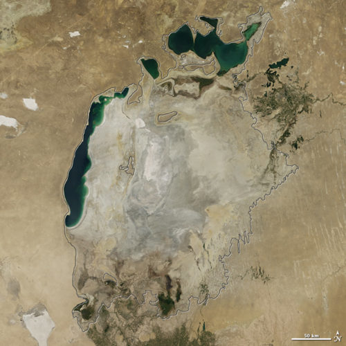 Aral Sea, Aral Sea photo, Aral Sea aerial image, aral sea is drying up, aral sea almost vanished, The Aral Sea has almost totally disappeared. Photo: NASA