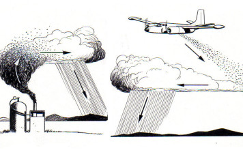 cloud seeding, cloudseeding, weather modification, chemtrails, drone cloud seeding, drought cloud seeding, This image explaining cloud seeding shows the chemical either silver iodide or dry ice being dumped onto the cloud, which then becomes a rain shower. The process shown in the upper-right is what is happening in the cloud and the process of condensation to the introduced chemicals.