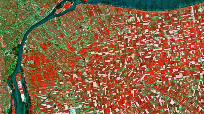 earth from space, earth from space photo, satellite images from earth, best earth from space photo, Detroit is divided into large squares called townships and sits across a strait near Windsor, Canada. (CNES 1988 – Distribution Astrium Services/Spot Image)