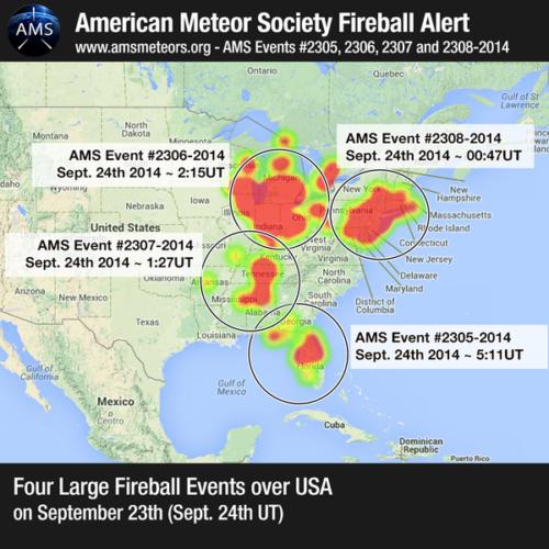 4 Unique US Fireballs' Sightings on September 23 2014