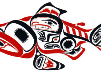 haida guaii archeological discovery, haida guaii art, Haida Dog Salmon -- Skaagi