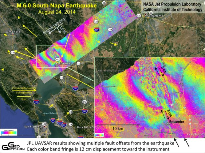 napa, napa earthquake, napa quake, new fault lines appear after napa quake, napa quake created new fault lines, napa new fault lines, napa quake new fault lines, The Napa earthquake created new fault lines. Image: Ground deformation from the Aug. 24 earthquake in Napa, California. Each color fringe corresponds to deformation of 4.7 inches (12 centimeters) by NASA/JPL-Caltech/ASI/Google Earth, earthquake, new fault lines, napa earthquake, new napa fault lines, new fault lines appear after napa quake
