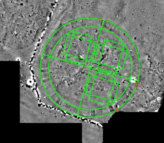 new Trelleborg-type fortresses discovered in Denmark, new circular Fyrkat Viking fortress map, circular viking fortress denmark, The image from the geomagnetic survey revealed a massive structure 475 feet in diameter, which makes it the third largest of the Trelleborg-type fortresses after Aggersborg (787 feet in diameter), in Limfjorden, Denmark, and Borgeby (492 feet in diameter) near Lund in Scania, Sweden. The inner ramparts are 35 feet wide and circular, surrounded by a spiked palisade. Four gates are placed at the cardinal points of the compass. This is the same plan as the other Trelleborg-type fortresses, trelleborg, trelleborg fortress, trelleborg circular fortress, viking fortress, trelleborg circular viking fortress, Viking ring fortress, Viking ring fortress of Trelleborg, Aerial view of the Viking ring fortress of Trelleborg, near Slagelse in Denmark. This was the first rediscovered Viking ring fortress, and the geometry is clearly visible. Photo: Thue C. Leibrandt (Wikipedia Commons), viking, viking fortress, viking circular fortress, photo, new viking fortress discovery denmark