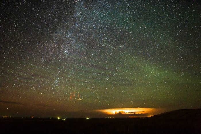 red sprite, red sprite photo, gravity waves, gravity waves photo, green gravity waves, greend gravity waves photo, Amazing picture showing a thunderstorm complex, a red sprite, air glow gravity waves, Andromeda Galaxy and many stars over South Dakota by Tom A. Warner, airglow, airglow photo, space phenomena, space weather phenomena