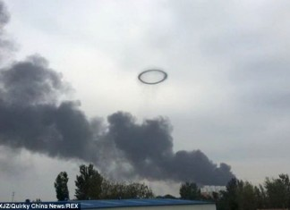 smoke rings, smoke of rings china sky, smoke ring, smoke rings explosion photo, smoke rings explosion china photo, smoke rings explosion china, Eerie smoke rings were created by a fireball explosion at a fibreglass factory in China on September 9, 2014, Particularly flammable resins triggered these weird rings of smoke in the sky, The fire and explosion remain unexplained. However the air in the area was heavily polluted.