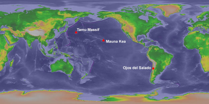 largest volcano, largest volcano around the world, world largest volcano, Which Volcano is the World's Largest? Three volcanoes share this title. Tamu Massif the most massive. Mauna Kea is the tallest. Ojos del Salado is the highest.