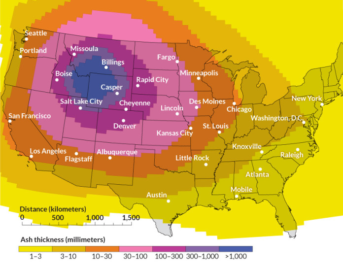 yellowstone supervolcano hazard, ash cover after yellowstone eruption, yellowstone supervolcano supereruption ash, yellowstone supervolcano hazard ash, yellowstone supervolcano ash us, yellowstone supervolcano ash map, yellowstone supervolcano hazard, This map shows that the entire US would be covered by ash during a Yellowstone supereruption. Photo: Science, This map shows that the entire US would be covered by ash during a Yellowstone supereruption. Photo: Science