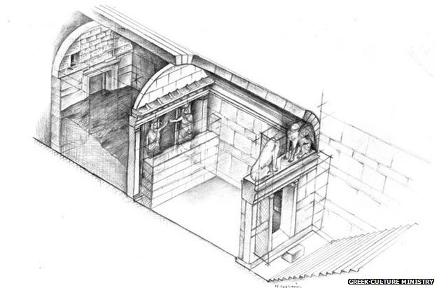ALEXANDER THE GREAT TOMB - tomb design, Design of the newly discovered tomb at Amphipolis, ALEXANDER THE GREAT TOMB - caryatids, caryatids photo tomb amphipolis, ALEXANDER THE GREAT TOMB, Alexander the Great Tomb photo, tomb amphipolis, tomb amphipolis photo, is this the tomb of alexander the great, tomd of alexander the great discovered in Greece, The entrance of the supposedly Alexander the Great Tomb at Amphipolis