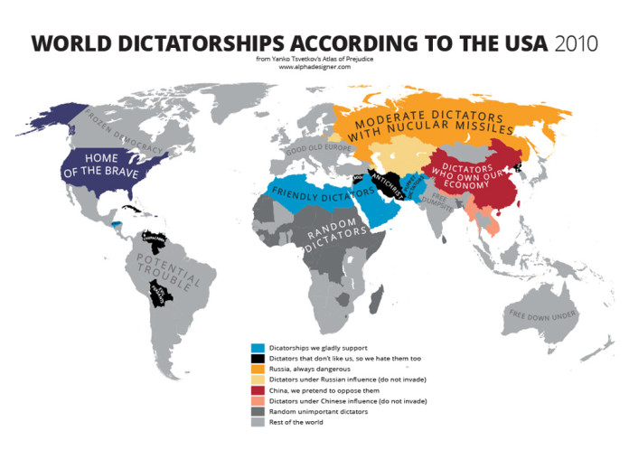 dictatorships according to us, atlas of prejudices, Atlas of Prejudice: Mapping Stereotypes, Mapping Stereotypes, Yanko Tsvetkov atlas of prejudices, the map of prejudices, prejudices map, the world according to Americans