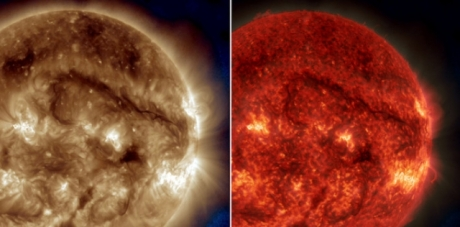 giant solar filament, solar filament sun, giant solar filament SDO october 2014, solar filament october 2014, solar filament floats over sun october 2014, solar storm, The Solar Dynamics Observatory has detected a giant filament floating over the sun. Photo: NASA/SDO