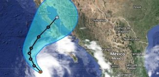 huracán categoría 4 simon, Tropical Storm Simon, hurricane simon, simon hurricane, The trajectory of Tropical Storm Simon toward Baja California. Satellite picture: The Weather Channel, trayectoria pronosticada de Simon, simon huracán categoría 4, simon huracana baja california mexico