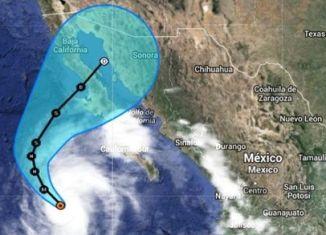 huracán categoría 4 simon, Tropical Storm Simon, hurricane simon, simon hurricane, The trajectory of Tropical Storm Simon toward Baja California. Satellite picture: The Weather Channel, trayectoria pronosticada de Simon, simon huracán categoría 4, simon huracana baja california mexico