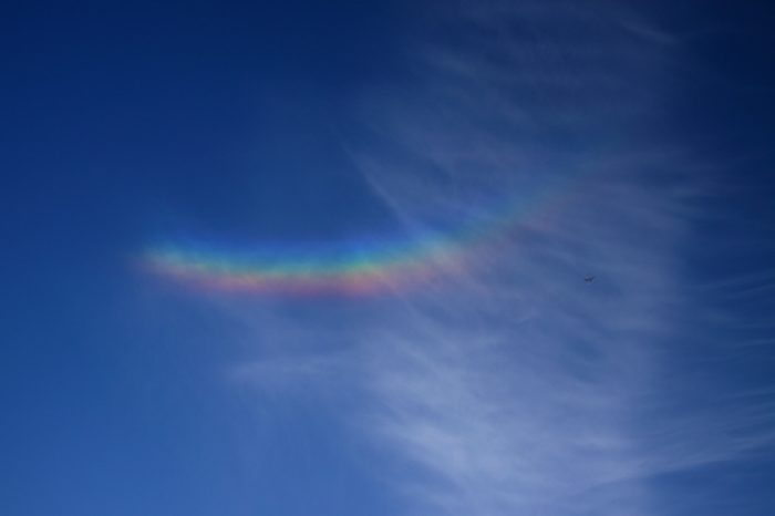 Circumzenithal Arc, Circumzenithal Arc photo, inversed rainbow photo, Circumzenithal Arc over Sumirago (Varese), Italy on November 1, 2014. Photo: Paolo Bardelli ,