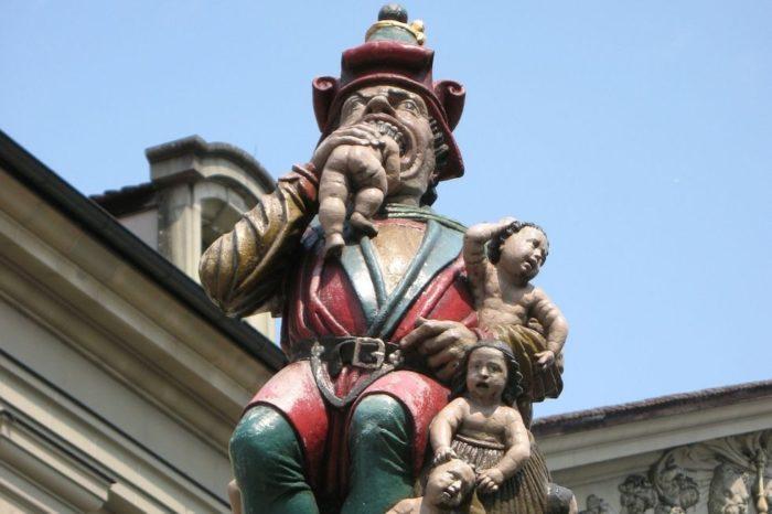 strange statues, statue destruction, terrifying statues, Kindlifresserbrunnen, Kindlifresser, Child Eater fontain, Kindlifresser Child Eater fontain bern switzerland