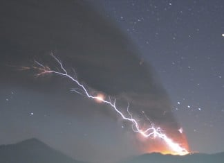 Lightning strikes as Shinmoedake erupts, volcanic lightning, volcanic lightning photo, volcanic eruption video, eruption video, volcano eruption video, volcano lightning video, volcano lightning phenomenon, Force of nature: Lightning strikes as Shinmoedake erupts, scattering ash and rocks across a wide swathe of southern Japan.
