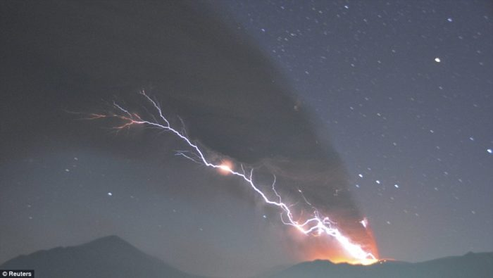 Lightning strikes as Shinmoedake erupts, volcanic lightning, volcanic lightning photo, volcanic eruption video, eruption video, volcano eruption video, volcano lightning video, volcano lightning phenomenon, Force of nature: Lightning strikes as Shinmoedake erupts, scattering ash and rocks across a wide swathe of southern Japan., volcano, lightnings, eruption, volcano lightning, video