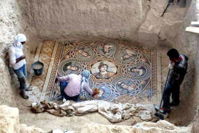 Stunning Ancient Greek Mosaic Depicting The Nine Muses or Daughters of Zeus Unearthed in Turkey, zeugma, zeugma mosaic, zeugma excavation project, mosaic zeugma turkey, turkey ancient mosaic zeugma