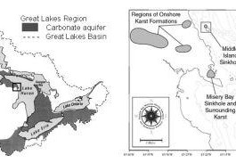submerged sinkholes lake huron, sinkhole lake huron, sinkhole great lakes, sinkhole underwater lake huron, lake huron cracks and sinkholes video, underwater sinkholes lake huron, underwater sinkholes lake huron ancient life, ancient bacteria colony in lake huron sinkholes, lake huron sinkholes contain ancient life, Site map showing carbonate aquifers in the Great Lakes basin and the study sites: the nearshore El Cajon sinkholes/springs (