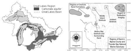 submerged sinkholes lake huron, sinkhole lake huron, sinkhole great lakes, sinkhole underwater lake huron, lake huron cracks and sinkholes video, underwater sinkholes lake huron, underwater sinkholes lake huron ancient life, ancient bacteria colony in lake huron sinkholes, lake huron sinkholes contain ancient life, Site map showing carbonate aquifers in the Great Lakes basin and the study sites: the nearshore El Cajon sinkholes/springs (<1 to 23 m deep), the Middle Island sinkhole (offshore 2 miles and 23 m deep), and the Isolated Sinkhole (offshore 9 miles and 93 m deep)