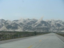 mountain dust cloud mexicali earthquake 2010