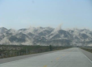 mountain dust cloud mexicali earthquake 2010