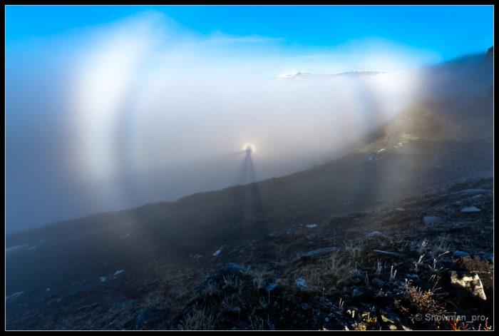 Fogbow, Brocken Spectre, Glory, picture Fogbow Brocken Spectre & Glory, photo Fogbow Brocken Spectre & Glory