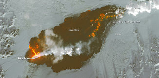 bardarbunga volcano, Growth of the Holuhraun Lava Field, bardarbunga volcano january 2015, Spectacular video and images of world's largest lava field in 200 years in iceland, Holuhraun lava field had spread across more than 84 square kilometers (32 square miles)