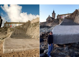 The dramatic before and after photos show just how bad the erosion was, with sands completely washed away by tides in Porthleven, PORTHLEVEN SAND BEACH, Freak high tide washes away all the sand on Porthleven beach, Porthleven beach sand disappears overnight, no sand on Porthleven beach, Porthleven sand washed away overnight, high tide freak phenomenon