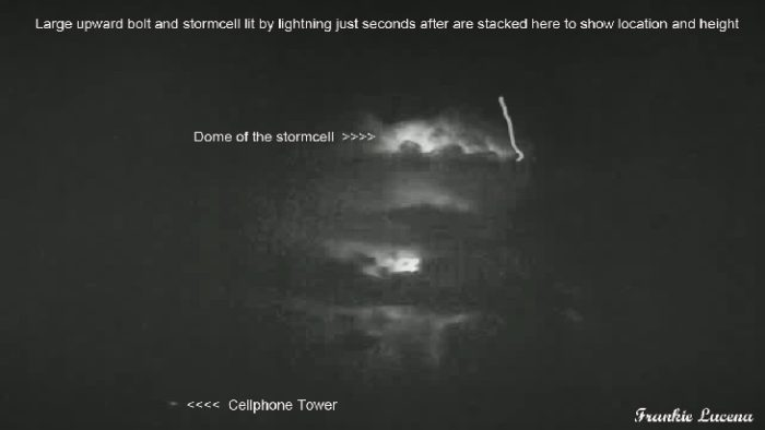 upward bolt, upward lightning, lupward stroke from top of cloud, upward lightning photo, upward lightning video, upward bolt picture, upward bolt video, lightning going upward from a storm cloud, Amazing picture of a upward bolt also known as upward lightning or upward stroke caught over Puerto Rico by Frankie Lucena