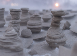 hoodoos, hoodoo, frozen sand formation, frozen sand sculptures, frozen sand sculptures lake michigan, hoodoos lake michigan 2015, strange frozen sand sculpture found on lake michigan shore, hodoos lake michigan pictures