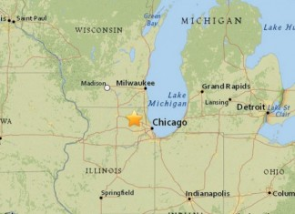 earthquake chicago march 2015, chicago earthquake march 2015, strongest chicago earthquake march 2015, loud booms reports march 2015, Map by the U.S. Geological Survey showing where an earthquake measuring 2.9 on the Richter Scale hit a little after 6 p.m. Wednesday. (U.S. Geological Survey)
