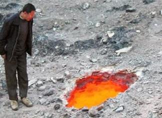 burning sinkhole china fire sinkhole china, sinkhole on fire china, china sinkhole on fire, fire in sinkhole china
