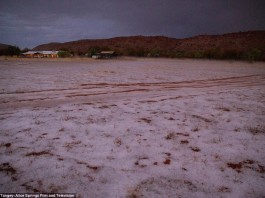 alice springs hailstorm june 2015, hailstorm alice springs desert australia, hail alice springs desert june 2015, hail blankets alice springs photo, hail blankets alice springs video june 2015