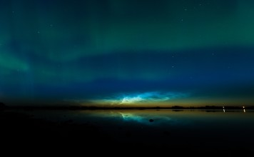 noctilucent cloud aurora, The neon blue noctilucent clouds with green aurora. Photo: Harlan Thomas, noctilucent cloud and aurora, noctilucent cloud aurora photo, noctilucent cloud aurora picture, best noctilucent cloud aurora picture, canada noctilucent cloud with aurora, noctilucent cloud and aurora glow together
