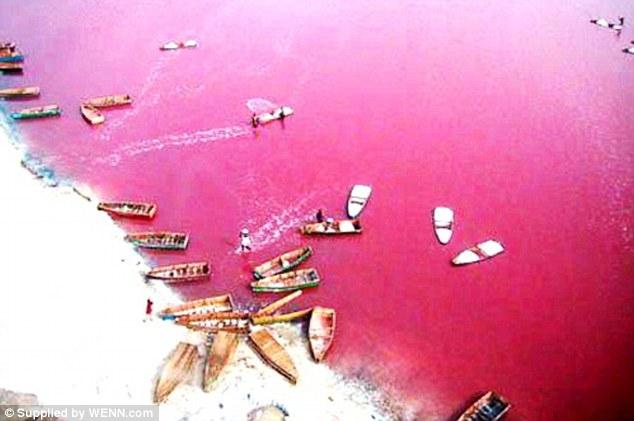 pink lake, pink lake list, Retba Lake, pink Retba Lake, pink lake picture, senegal Retba Lake