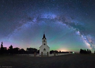 church milky way, church milky way photo, best church photo, amazing church photo, milky way over church photo, believer church milky way, A church below a milky way halo