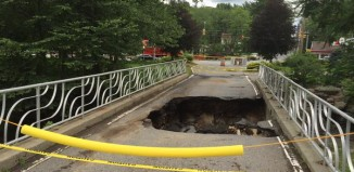 bridge collapse, bridge collapse news, sinkhole swallows bridge at Paradise Stream Resort, sinkhole swallows bridge pennsylvania, sinkhole bridge PARADISE TOWNSHIP video, sinkhole swallows bridge PARADISE TOWNSHIP july 2015