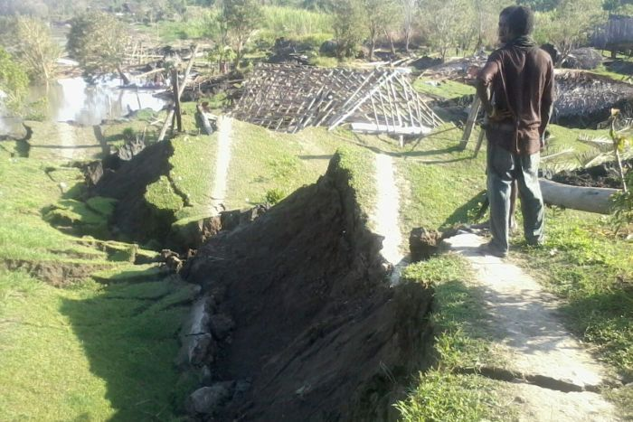 Giant cracks and monster sinkhole swallow 16 houses in Papua